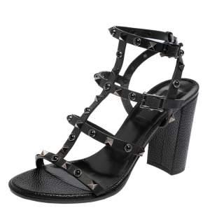 Valentino Black Leather Rockstud Block Heel Sandals Size 39.5