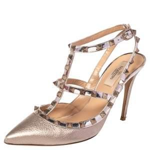 Valentino Metallic Leather Rockstud Strappy Sandals Size 39