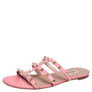 Valentino Pink Leather Rockstud  Flats Size 38
