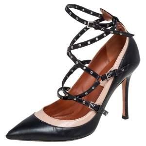 Valentino Beige/Black Leather Love Latch Detail Eyelet Embellished Pumps Size 37.5