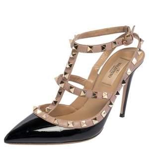 Valentino Beige/Black Leather Rockstud Pointed Toe Sandals Size 37