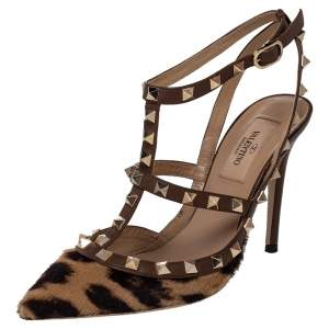 Valentino Brown/Beige Calf Hair Rockstud Pointed Toe Ankle Strap Sandals Size 36