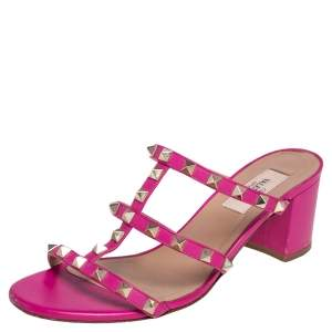 Valentino Pink Leather Rockstud Block Heel Slide Sandals Size 37.5