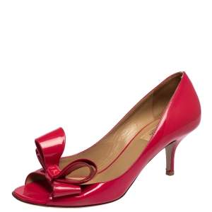 Valentino Pink Patent Leather Bow Peep Toe Pumps Size 40