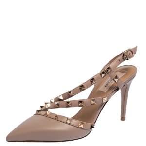 Valentino Beige Leather Rockstud Slingback Sandals Size 36