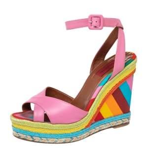 Valentino Pink Leather 1973 Wedge Platform Espadrille Ankle Strap Sandals Size 39