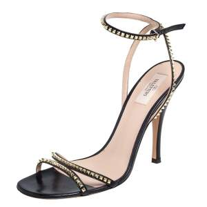 Valentino Black Leather Rockstud Spike Ankle Strap Sandals Size 41.5