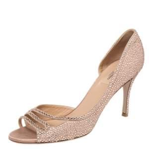 Valentino Beige Suede Crystal Embellished D'orsay Pumps Size 41