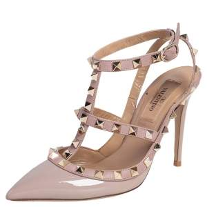 Valentino Beige Patent Leather and Leather Rockstud Ankle Strap Sandals Size 35