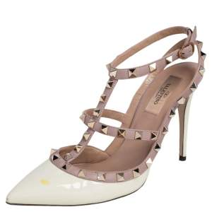 Valentino Cream/Beige Patent Leather and Leather Trim Rockstud  Ankle Strap Sandals Size 38.5