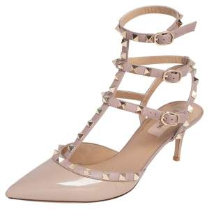 Valentino Beige Leather And Patent Rockstud Ankle Strap Sandals Size 39.5
