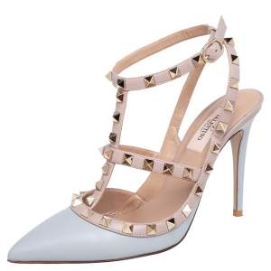 Valentino Pastel Grey/Beige Leather Rockstud Pointed Toe Ankle Strap Sandals Size 38