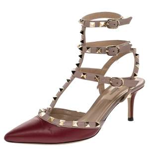 Valentino Red/Pink Leather Rockstud Caged Pumps Size 37.5