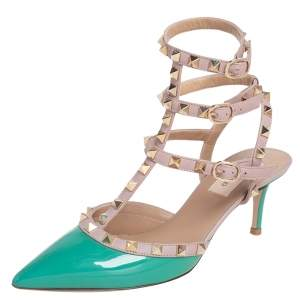 Valentino Green/Beige Patent And Leather Rockstud Ankle Strap Sandals Size 37.5