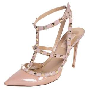 Valentino Beige/Pink Patent And Leather Rockstud Sandals Size 38.5