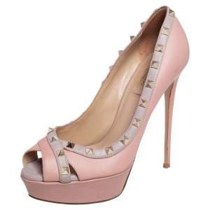 Valentino Pink/Beige Leather Studded Peep Toe Platform Pumps Size 39.5