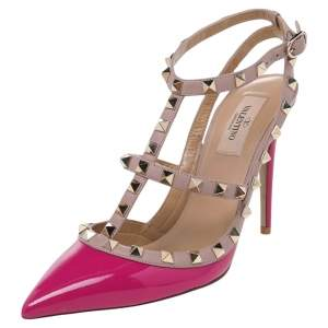 Valentino Fuchsia/Beige Patent Leather And Leather Rockstud Pointed Toe Ankle Strap Sandals Size 39.5