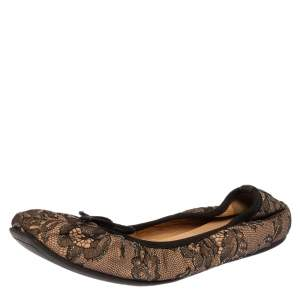Valentino Black/Beige Lace Bow Detail Scrunch Flats Size 36