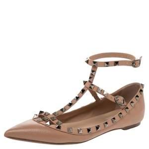 Valentino Beige Leather Rockstud Ankle Strap Ballet Flats Size 40