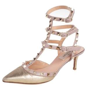 Valentino Pink/Gold Leather Rockstud Ankle Strap Sandals Size 36