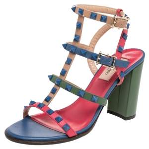 Valentino Multicolor Leather Rockstud Ankle Strappy Block Heel Sandals Size 37