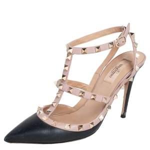 Valentino Black/Beige Leather Rockstud Ankle Strap Sandals Size 39