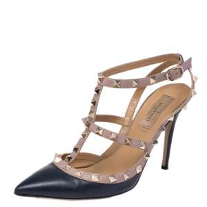 Valentino Blue/Beige Leather Rockstud Pointed Toe Sandals Size 37.5