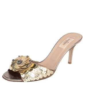 Valentino Beige Satin Floral Sequin Embellished Slide Sandals Size 41