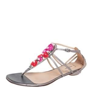 Valentino Metallic Grey Leather Embellished T Strap Flat Sandals Size 39.5