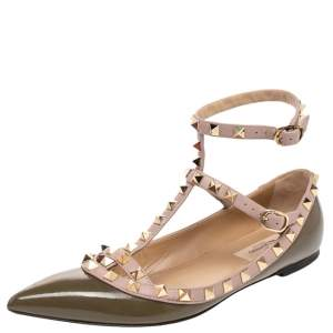 Valentino Green/Pink Patent Leather Rockstud Ankle Strap Ballet Flats SIze 36.5