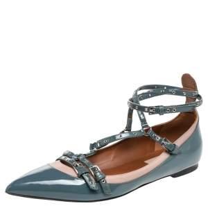 Valentino Blue/Beige Patent Leather Love Latch Ballet Flats Size 36.5