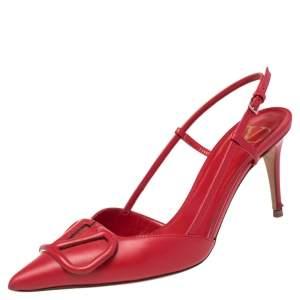 Valentino Red Leather Vlogo Slingback Sandals Size 36