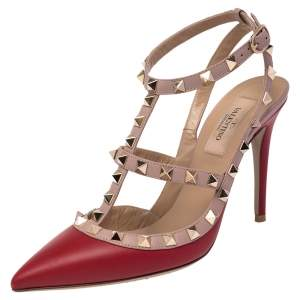 Valentino Red/Beige Leather Rockstud Ankle Strap Sandals Size 37