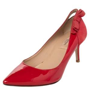 Valentino Red Patent Leather And Suede Slingback Bow Pointed Toe Pumps Size 38