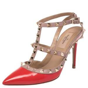 Valentino Red/Beige Patent and Leather Rockstud Pointed Toe Sandals Size 36