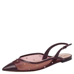 Valentino Burgundy Mesh and Leather Rockstud Slingback Flat Sandals Size 40