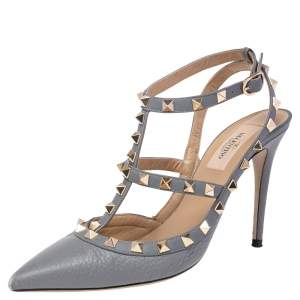 Valentino Stone Blue Leather Rockstud Pointed Toe Sandals Size 38