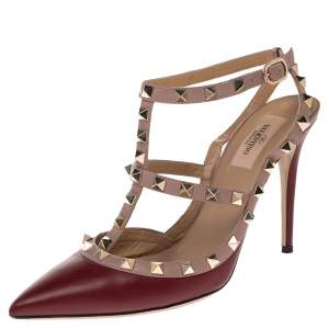 Valentino Maroon Leather Rockstud Ankle Strap Pumps Size 39.5