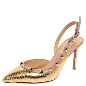 Valentino Metallic Gold Python Embossed Leather Rockstud Slingback Pumps Size 36