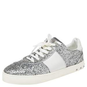 Valentino Silver Glitter and Leather Fly Crew Low Top Sneakers Size 41