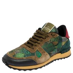 Valentino Multicolor Camo Butterfly Printed Rockrunner Sneakers Size 40