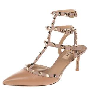Valentino Beige Leather Rockstud Pointed Toe Sandals Size 39