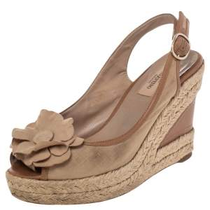Valentino Beige Fabric And Leather Flower Platform Espadrille Wedge Slingback Sandals Size 37.5