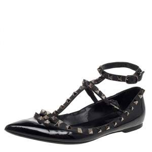 Valentino Black Patent And Leather Rockstud Flats Size 38.5
