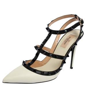 Valentino White/Black Leather Rockstud Ankle Strap Sandals Size 40