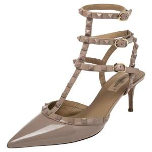 Valentino Beige Patent Leather Rockstud Pointed Toe Ankle Strap Sandals Size 39.5