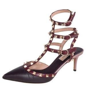 Valentino Burgundy Leather Rockstud Ankle Strap Pumps Size 38