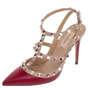 Valentino Red/Beige Leather Rockstud Ankle Strap Sandals Size 38