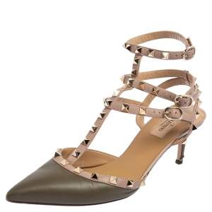 Valentino Olive Green Leather Rockstud Ankle Strap Pumps Size 39.5