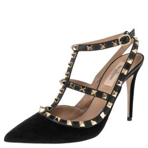 Valentino Black Suede And Leather Rockstud  Ankle Strap Sandals Size 38.5